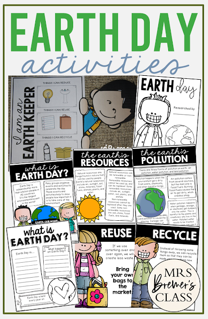 Earth Day unit activities for First Grade and Second Grade including charts, craftivity, worksheets