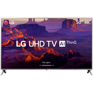 "Smart TV LED 50"" LG 50UK6510 Ultra HD 4k com Conversor Digital 4 HDMI 2 USB Wi-Fi ThinQ AI WebOS 4.0 60Hz Inteligencia Artificial"