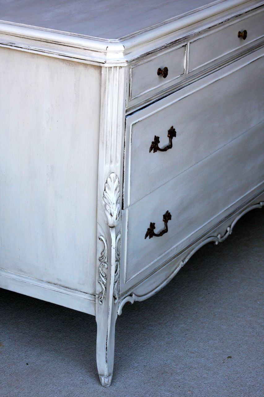 The Painted Paisley Dresser Antiqued White