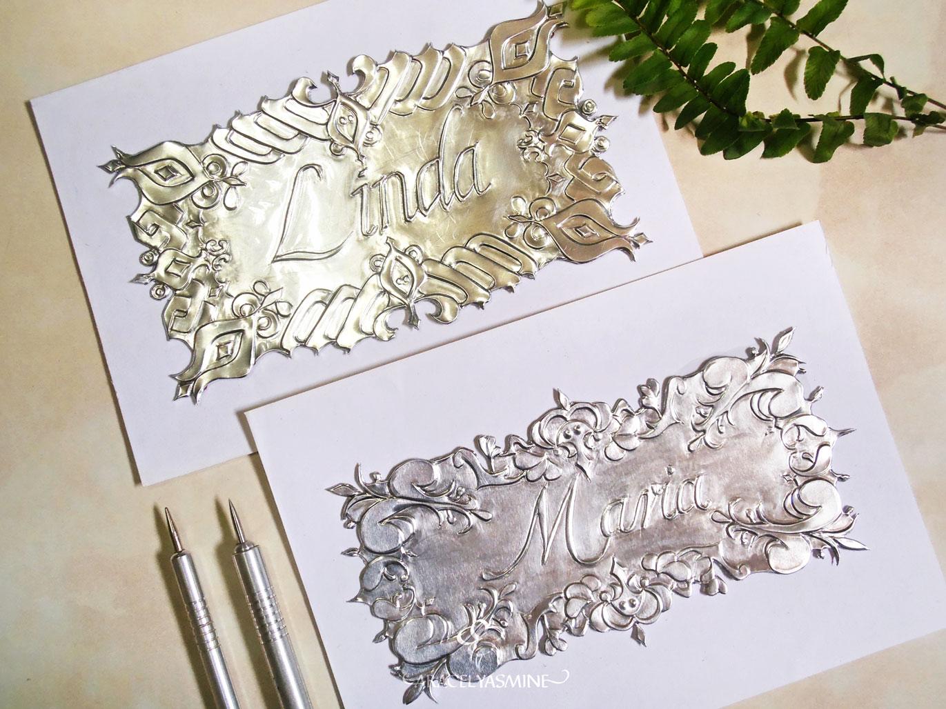 ¿Cómo repujar nombres en aluminio?