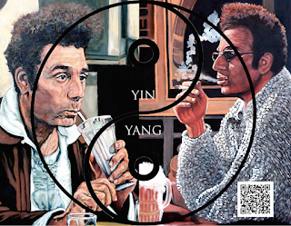 Cosmo Kramer drinking a beer and a milkshake under the Yin and Yang symbol