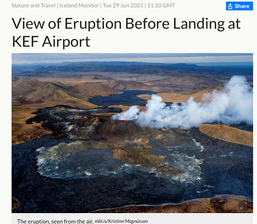 View of volcanic eruption during landing in Reykjavik (Iceland Monitor, 29 June 2021)