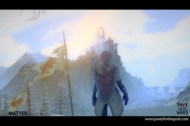 The game's protagonist standing before a snowy mountain with a strange structure at the top.