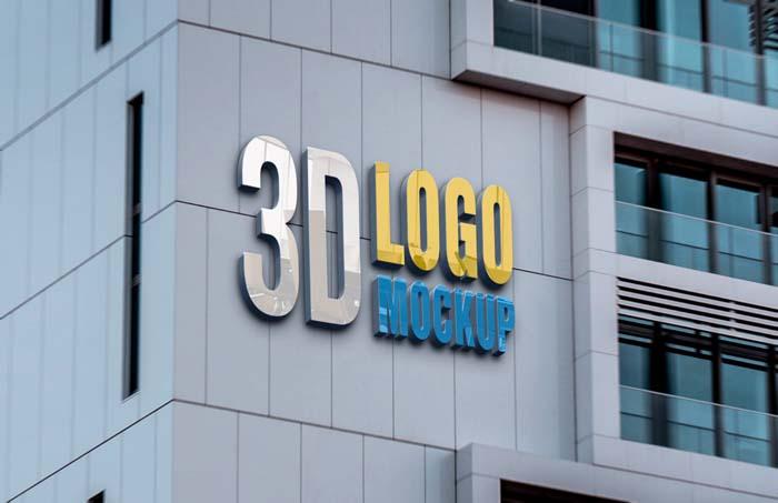 Realistic Building Wall Logo Mockup