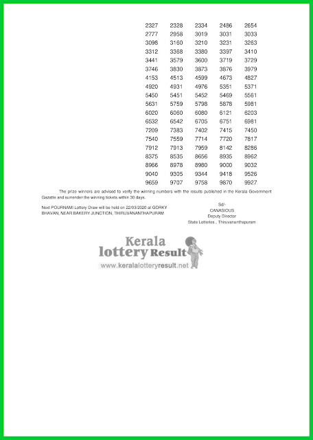LIVE: Kerala Lottery Result 15-03-2020 Pournami RN-434 Lottery Result