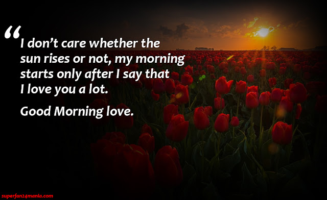 """""""I don't care whether the sun rises or not, my morning starts only after I say that I love you a lot. Good Morning love."""""""