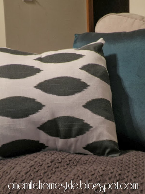 White and Charcoal covered pillow