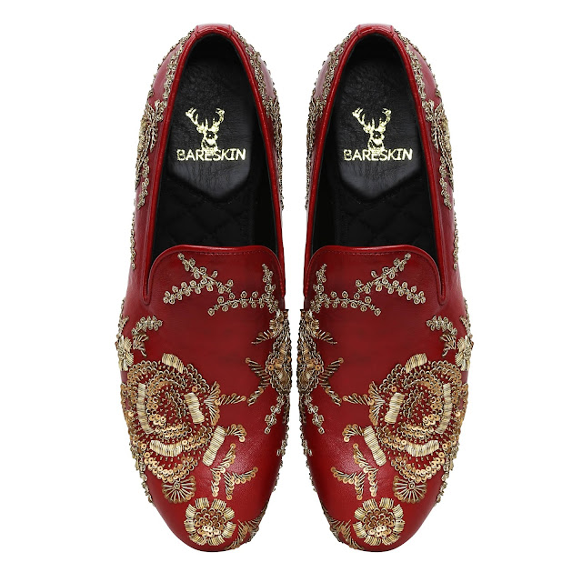 BARESKIN MAROON LEATHER SLIP-ON SHOES WITH COPPER GOLD ZARDOSI EMBROIDERY-