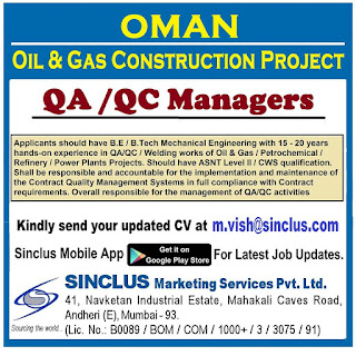 QA QC Managers for Oman