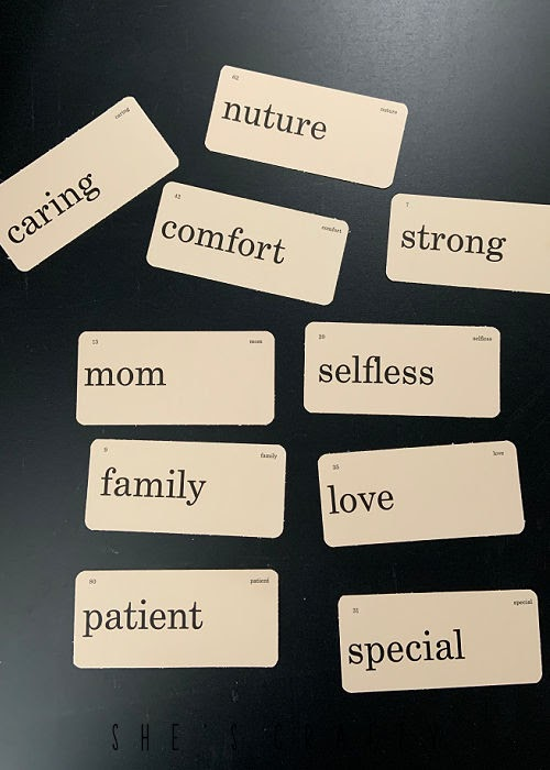Mother's Day free printable flash cards printed and cut out.