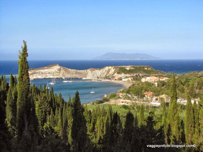 Veduta di Porto a Erikoussa, isole Diapontie