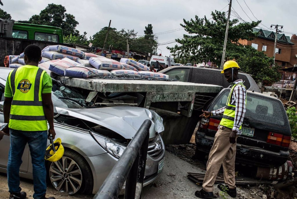 One Killed As Dangote Truck Damages Two Cars In Magodo, Lagos
