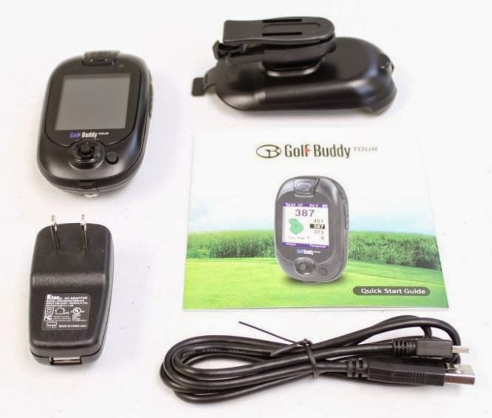 Golf Buddy Tour GPS Range Finder with belt clip holster, USB cable, wall charger, picture/image, review features and specifications