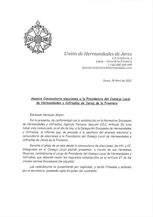El lunes se inicia la carrera por la presidencia de la Unión de Hermandades de Jerez de la Frontera