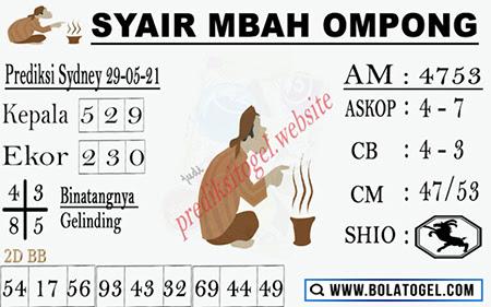 Syair Mbah Ompong Sydney Sabtu 29-Mei-2021