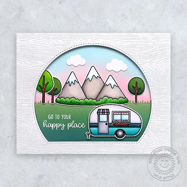 Sunny Studio Stamps: Comic Strip Everyday Dies Stitched Semi-Circle Dies Happy Camper Spring Scenes Card by Anja Bytyqi