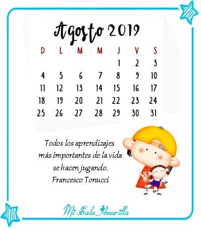 Calendario Agosto 2019 Numeros Grandes.Mi Sala Amarilla 2019