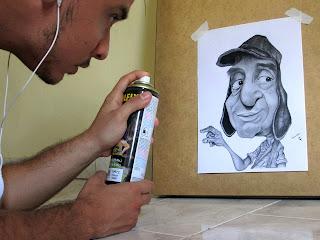 Leandro pintando