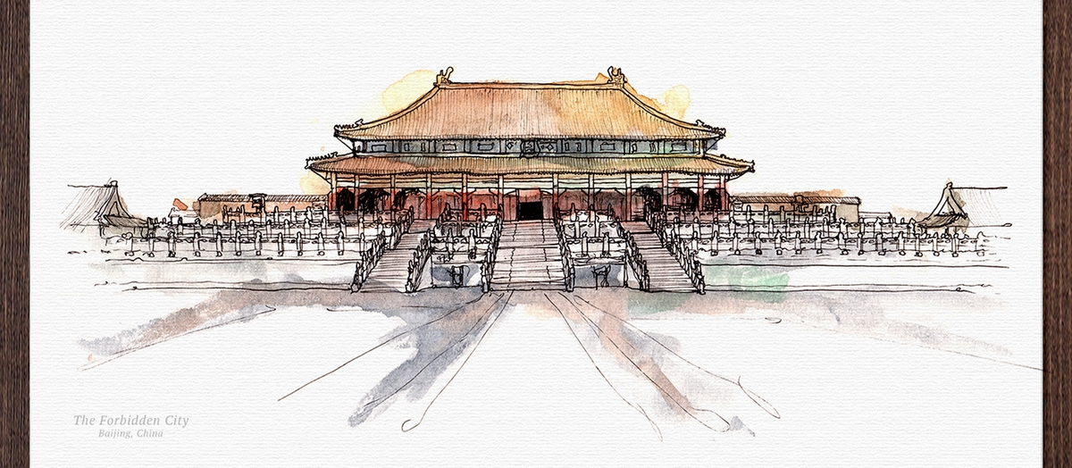 04-Forbidden-City-China-Mucahit-Gayiran-Architectural-Landmarks-Watercolor-Paintings-www-designstack-co