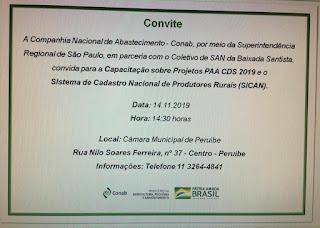 Peruíbe recebe oficina da CONAB, no próximo dia 14 de novembro