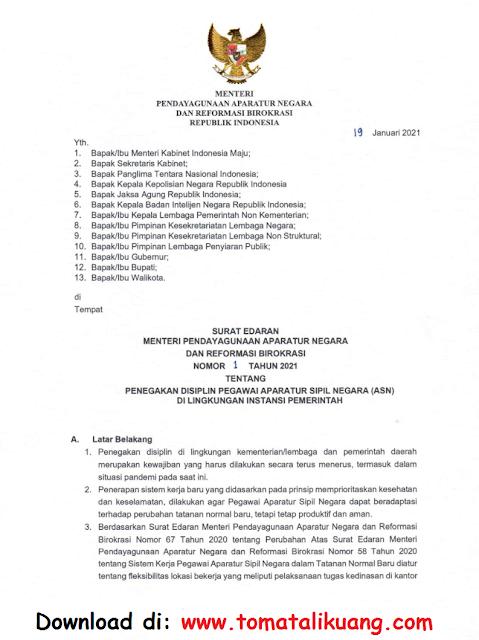 surat edaran menpan rb nomor 1 tahun 2021 tentang penegakan disiplin asn pns di lingkungan instansi pemerintah pdf tomatalikuang.com