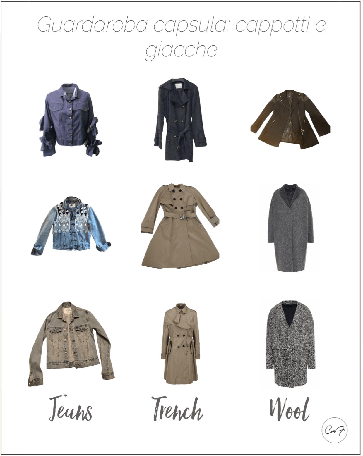 tre giacche di jeans, tre trench e tre cappotti di lana adatti a un guardaroba capsula