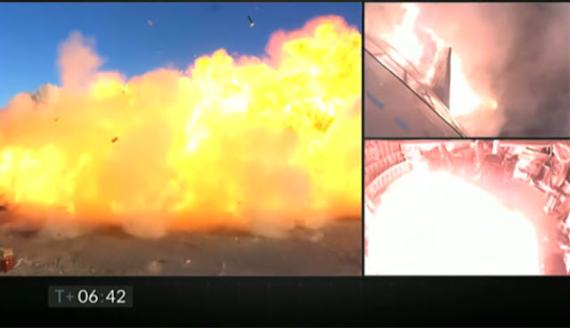 Starship SN8 explodes during landing at T = 06:42 minutes.  (Source: SpaceX)
