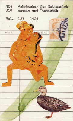Hindu Indian erotic sex art duck turkist Ataturk postage stamp library due date card Dada Fluxus mail art collage