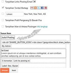 Pilihan Opsi Pada Halaman Post Blogger adalah mengonfigurasi postingan blog