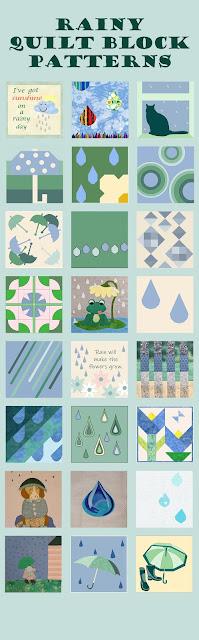 Rain-themed quilt blocks
