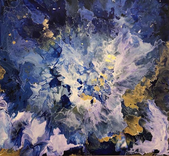 Maru Prats arte abstracto acrílico lienzo Universe II azul