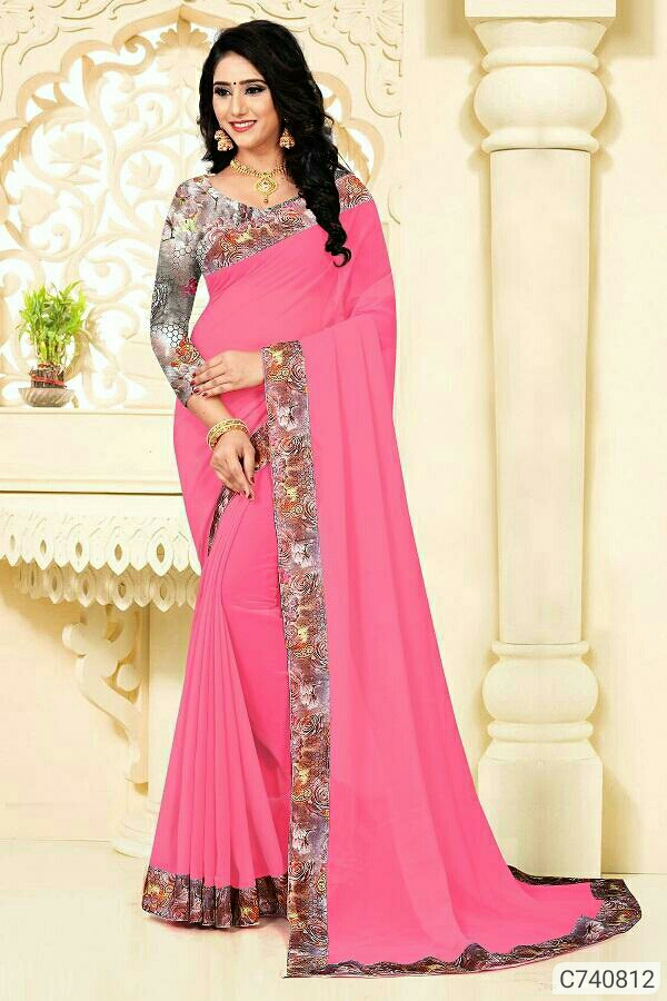 Glamourous Georgette Solid With Digital Printed Border Sarees