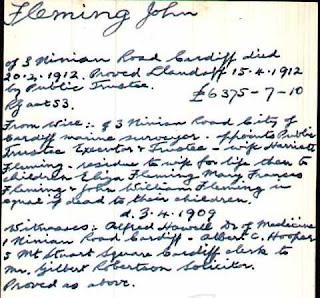 1912 death of John Fleming will