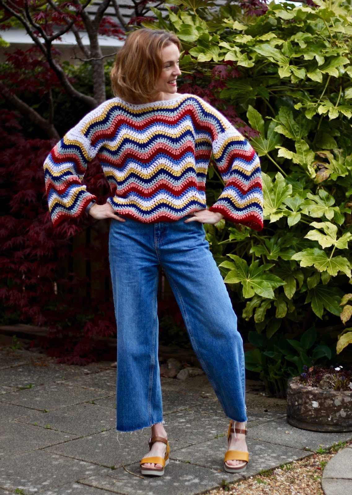 Homemade crochet jumper & culotte jeans | Spring style