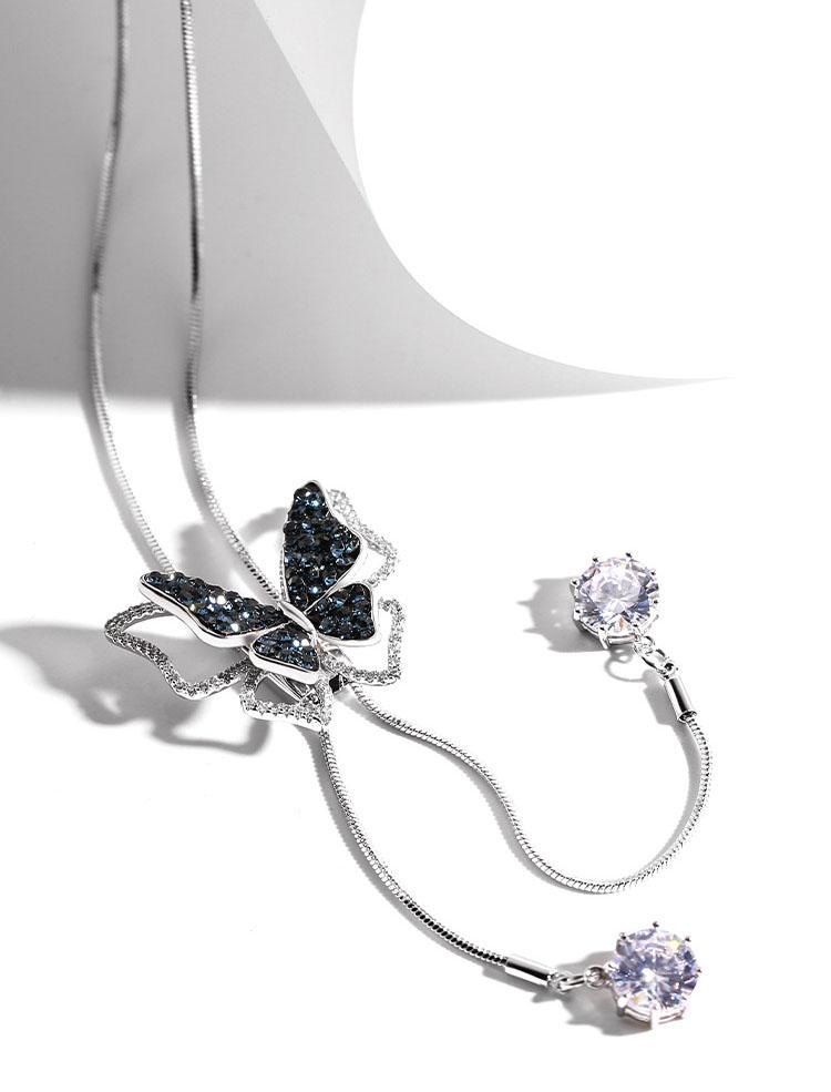 優雅藍鑽蝴蝶長鏈