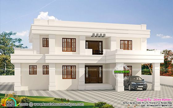 ₹55 lakhs cost estimated white flat roof house