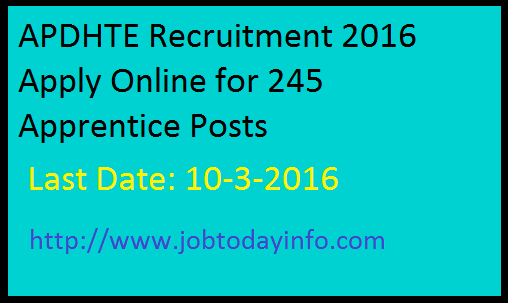 APDHTE Recruitment 2016 Apply Online for 245 Apprentice Posts