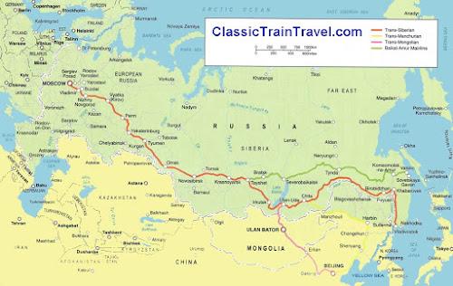 Mapa da ferrovia Transiberiana
