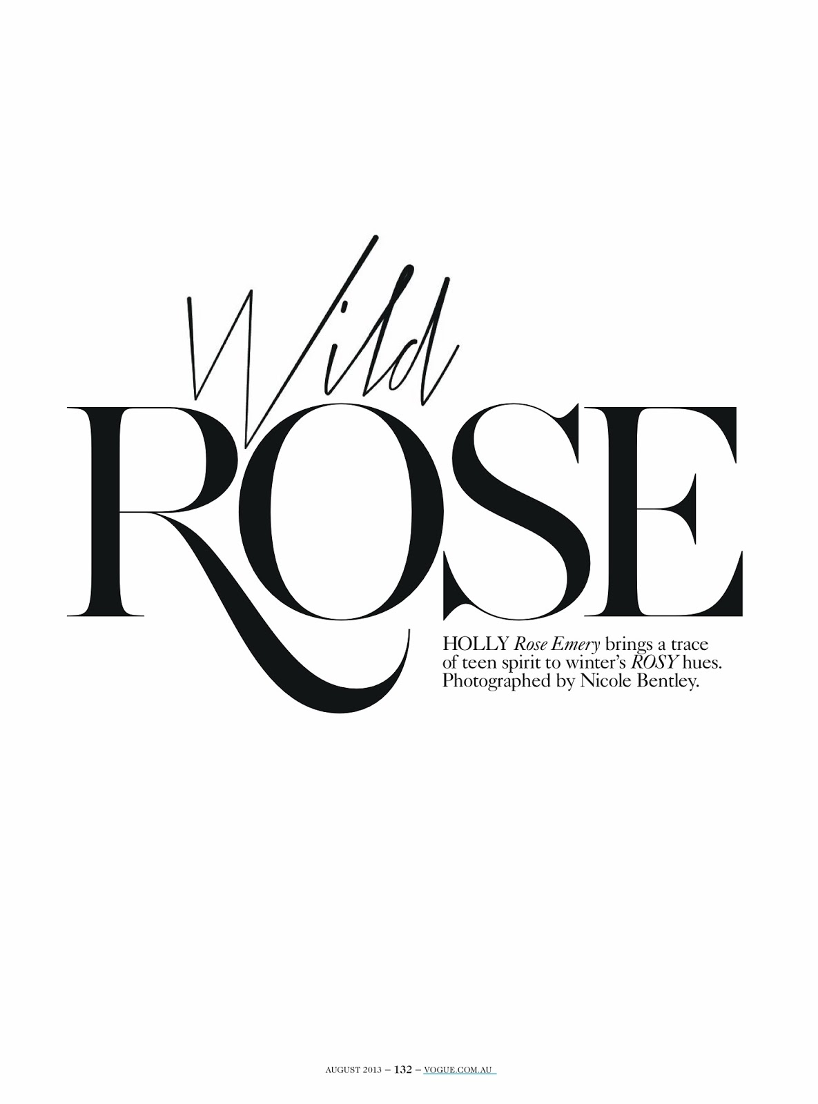 wild rose: holly rose by nicole bentley for vogue