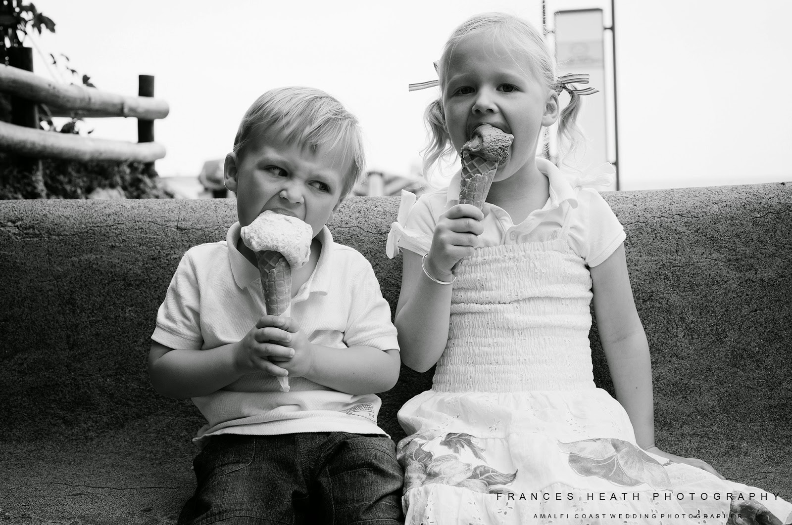 Children's portrait with ice cream cones