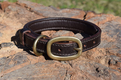 Padded collar in dark havana leather made for a small size dog, made on measure and hand stitched