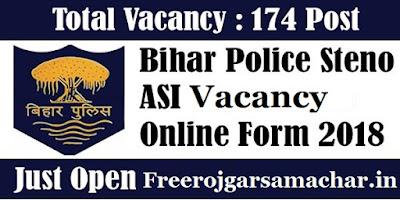 Bihar ASI Steno vacancy Online Form 2018
