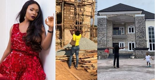 Nigeria blogger, blessing, completes 7-bedroom duplex after been thrown away by ex-husband in 1 bedroom apartment