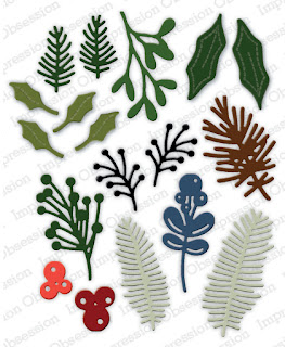 Winter Foliage Die Set from Impression Obsession for handmade holiday cards and crafts #cardmaking #christmascards #craftsupplies (affiliate link)