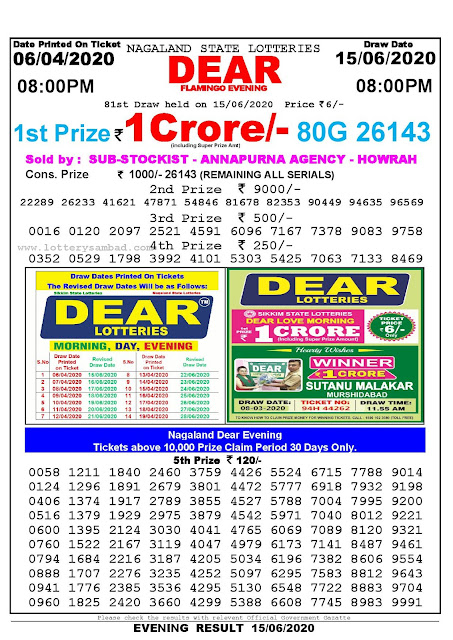 Nagaland State Lottery Sambad 06-04-2020 Today Result 8 PM