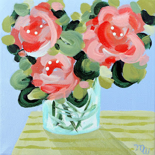 Flower painting by Merrill Weber original floral mini acrylic painting Celebration 126 framed