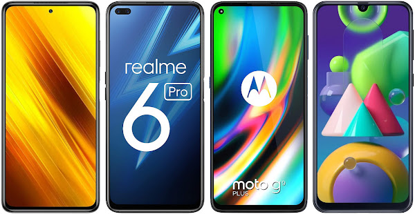 Xiaomi POCO X3 NFC 64 GB vs Realme 6 Pro (6 GB RAM) vs Motorola Moto G9 Plus vs Samsung Galaxy M21
