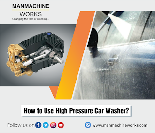 An image of High Pressure Car Washer on left and a washing car on right.