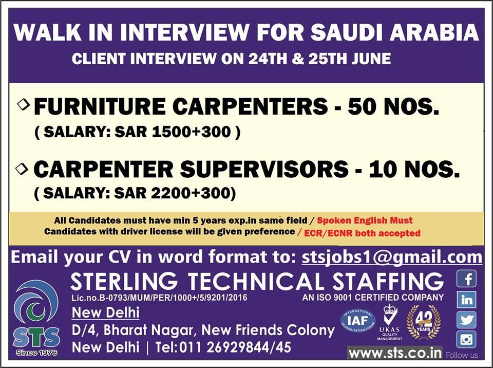 Walk in Interview for Saudi Arabia