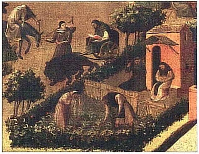 Monges trabalhando a horta do mosteiro